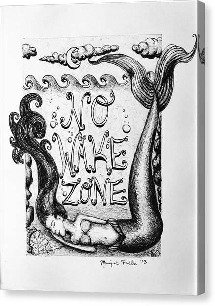 No Wake Zone, Mermaid Canvas Print