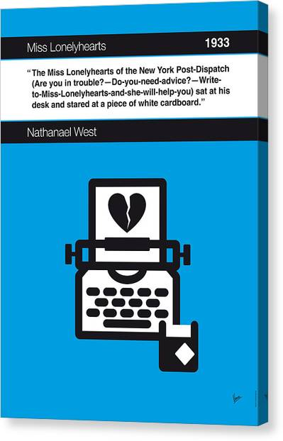 Libraries Canvas Print - No011-my-miss Lonelyhearts-book-icon-poster by Chungkong Art