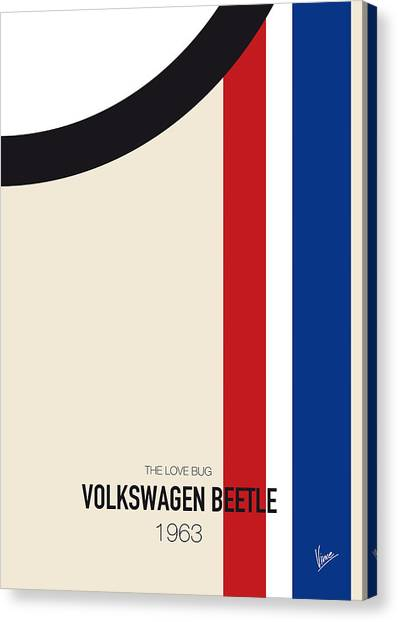 Beetle Canvas Print - No014 My Herbie Minimal Movie Car Poster by Chungkong Art