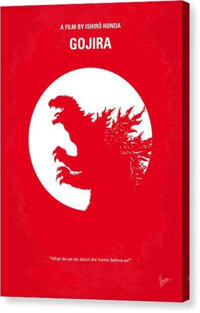 Lizard Canvas Print - No029-1 My Godzilla 1954 Minimal Movie Poster by Chungkong Art