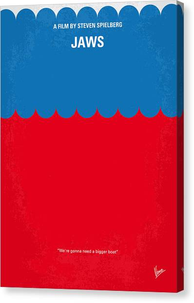 Jaws Canvas Print - No046 My Jaws Minimal Movie Poster by Chungkong Art