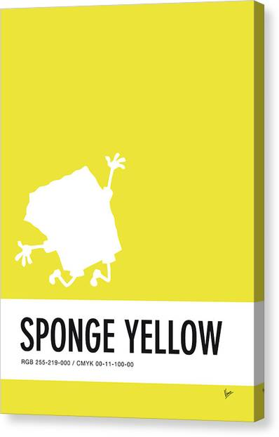 Brain Canvas Print - No10 My Minimal Color Code Poster Spongebob by Chungkong Art