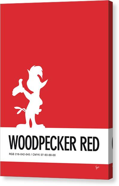 Woodpeckers Canvas Print - No12 My Minimal Color Code Poster Woody Woodpecker by Chungkong Art