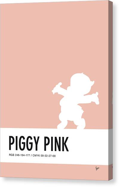 Brain Canvas Print - No17 My Minimal Color Code Poster Porky Pig by Chungkong Art