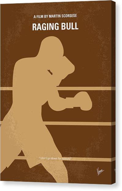 Boxing Canvas Print - No174 My Raging Bull Minimal Movie Poster by Chungkong Art