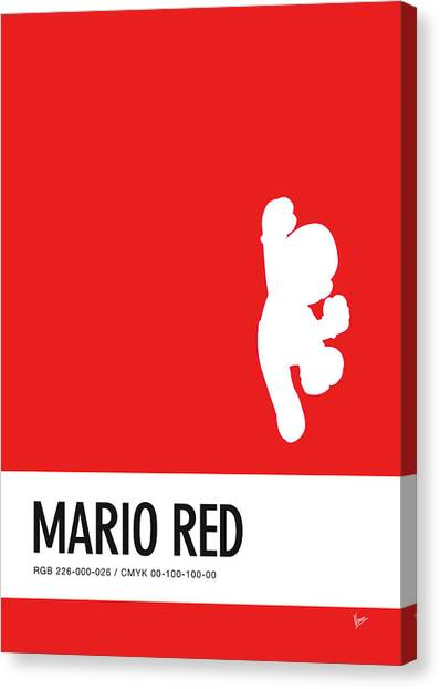 Super Mario Canvas Print - No33 My Minimal Color Code Poster Mario by Chungkong Art