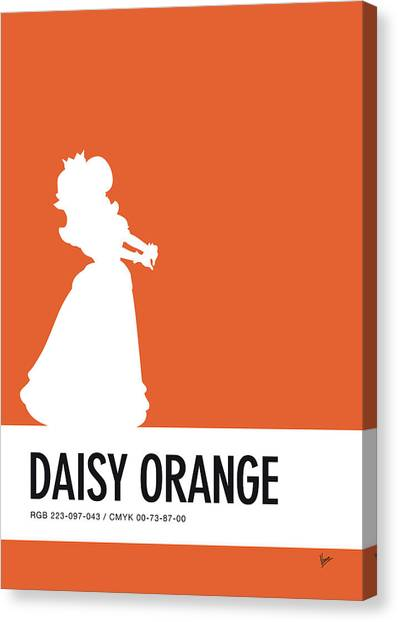 Super Mario Canvas Print - No35 My Minimal Color Code Poster Princess Daisy by Chungkong Art