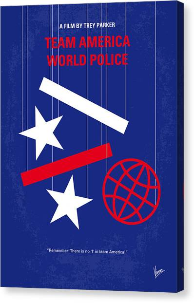 Police Canvas Print - No475 My Team America Minimal Movie Poster by Chungkong Art