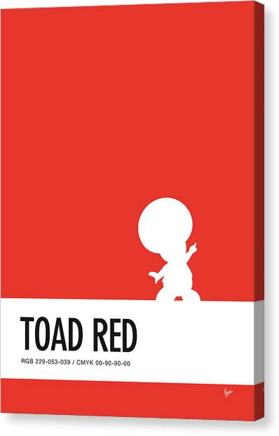 Super Mario Canvas Print - No41 My Minimal Color Code Poster Toad by Chungkong Art