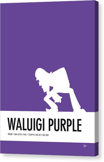 Super Mario Canvas Print - No42 My Minimal Color Code Poster Waluigi by Chungkong Art