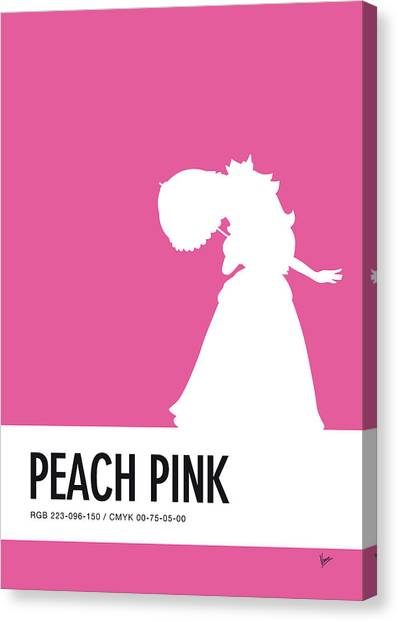 Daisy Canvas Print - No44 My Minimal Color Code Poster Peach by Chungkong Art