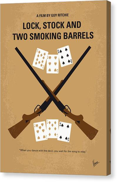 Shotguns Canvas Print - No441 My Lock Stock And Two Smoking Barrels Minimal Movie Poster by Chungkong Art