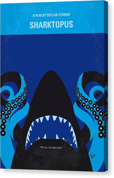 Fish Canvas Print - No485 My Sharktopus Minimal Movie Poster by Chungkong Art