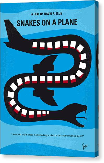 Snakes Canvas Print - No501 My Snakes On A Plane Minimal Movie Poster by Chungkong Art