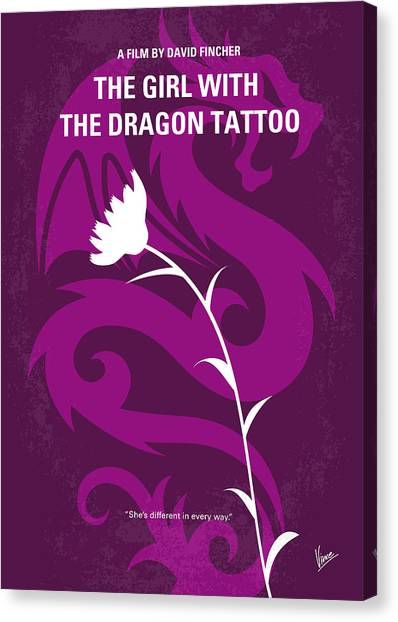 Tattoo Canvas Print - No528 My The Girl With The Dragon Tattoo Minimal Movie Poster by Chungkong Art
