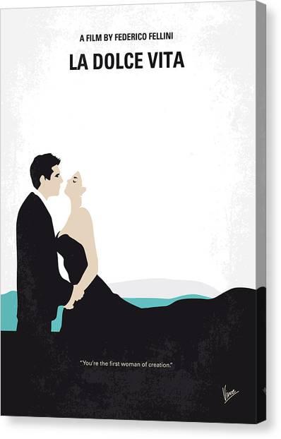 Rome Canvas Print - No529 My La Dolce Vita Minimal Movie Poster by Chungkong Art
