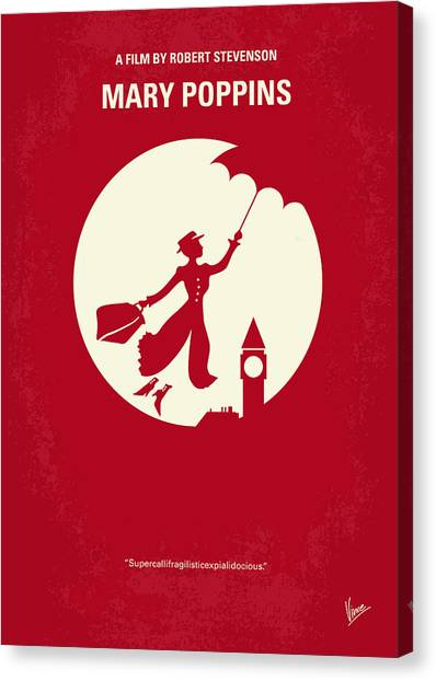 Mary Canvas Print - No539 My Mary Poppins Minimal Movie Poster by Chungkong Art