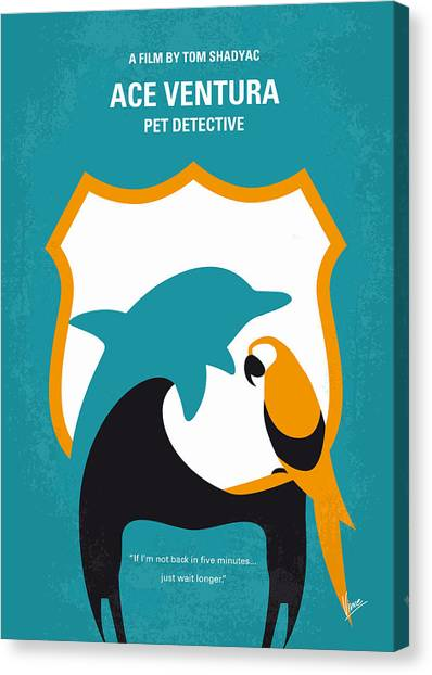 Miami Dolphins Canvas Print - No558 My Ace Ventura Minimal Movie Poster by Chungkong Art