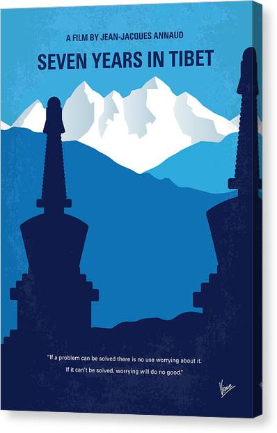 Buddha Canvas Print - No559 My Seven Years In Tibet Minimal Movie Poster by Chungkong Art
