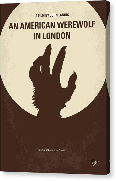 Small Mammals Canvas Print - No593 My American Werewolf In London Minimal Movie Poster by Chungkong Art