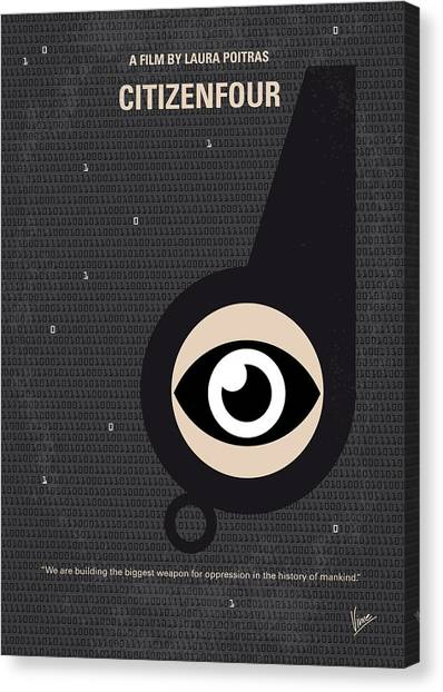 Hong Kong Canvas Print - No598 My Citizenfour Minimal Movie Poster by Chungkong Art