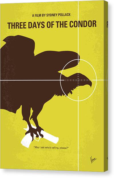 Cia Canvas Print - No659 My Three Days Of The Condor Minimal Movie Poster by Chungkong Art