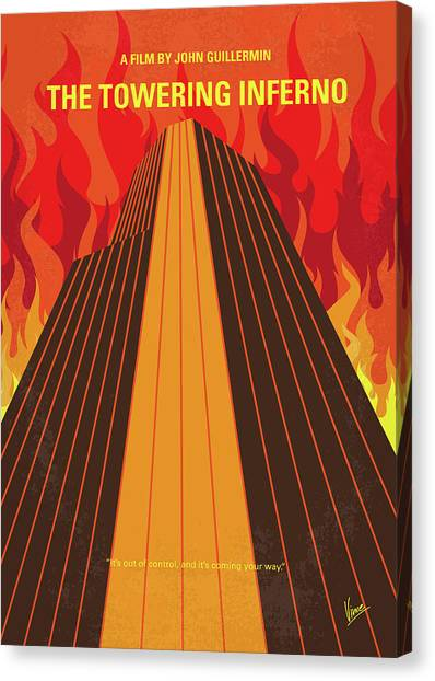 Firefighters Canvas Print - No665 My The Towering Inferno Minimal Movie Poster by Chungkong Art