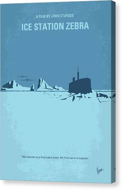 Submarine Canvas Print - No711 My Ice Station Zebra Minimal Movie Poster by Chungkong Art