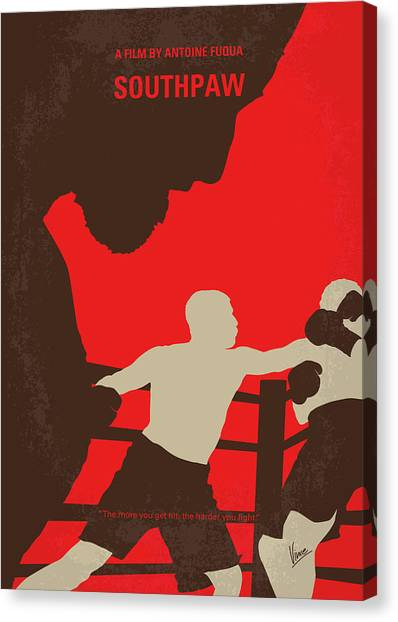 Boxing Canvas Print - No723 My Southpaw Minimal Movie Poster by Chungkong Art