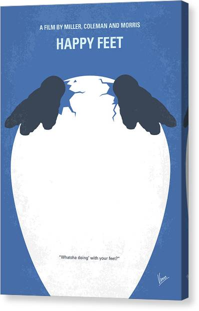 Penguins Canvas Print - No744 My Happy Feet Minimal Movie Poster by Chungkong Art