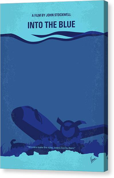 Scuba Diving Canvas Print - No912 My Into The Blue Minimal Movie Poster by Chungkong Art