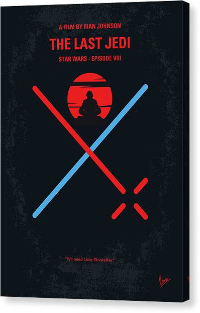 Jedi Canvas Print - No940 My Star Wars Episode Viii The Last Jedi Minimal Movie Poster by Chungkong Art