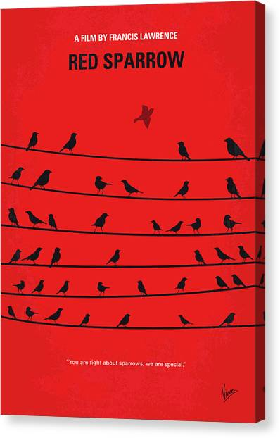 Sparrows Canvas Print - No960 My Red Sparrow Minimal Movie Poster by Chungkong Art