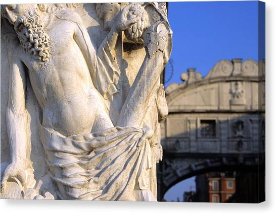 Noah On The Doges Palace In Venice Canvas Print by Michael Henderson