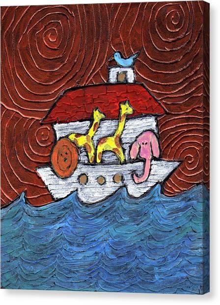 Noahs Ark With Blue Bird Canvas Print