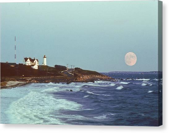 Nobska Point And Moon Canvas Print