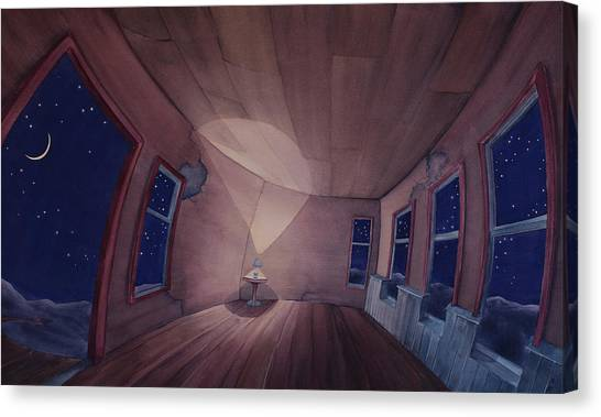 Canvas Print featuring the painting Nocturnal Interior by Scott Kirby