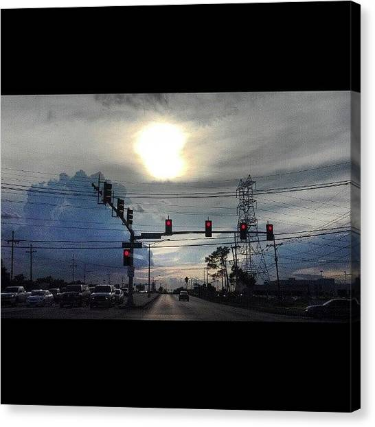 Stoplights Canvas Print - #nofilter #sunset #sun #clouds #skyporn by Britt Bassil