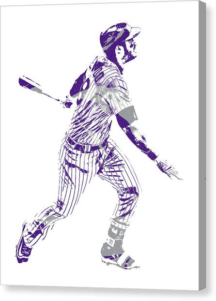 Colorado Rockies Canvas Print - Nolan Arenado Colorado Rockies Pixel Art 10 by Joe Hamilton