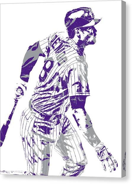 Colorado Rockies Canvas Print - Nolan Arenado Colorado Rockies Pixel Art 11 by Joe Hamilton