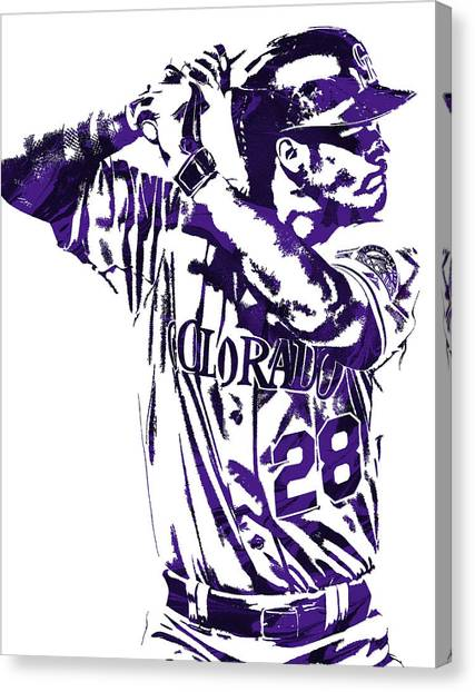 Colorado Rockies Canvas Print - Nolan Arenado Colorado Rockies Pixel Art 2 by Joe Hamilton