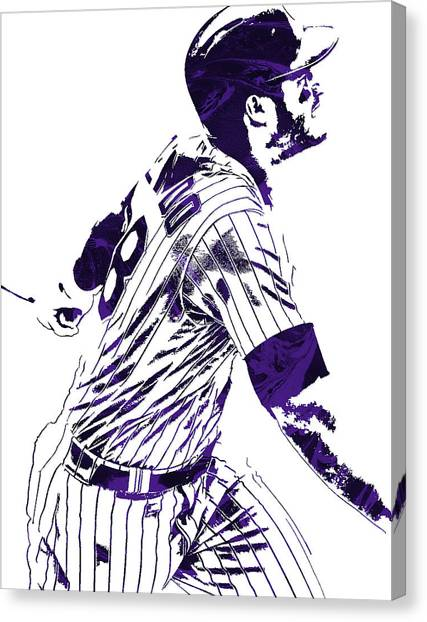 Colorado Rockies Canvas Print - Nolan Arenado Colorado Rockies Pixel Art 3 by Joe Hamilton