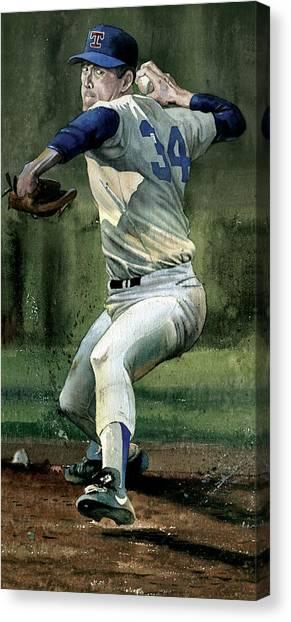 Texas Rangers Canvas Print - Nolan Ryan by Rich Marks