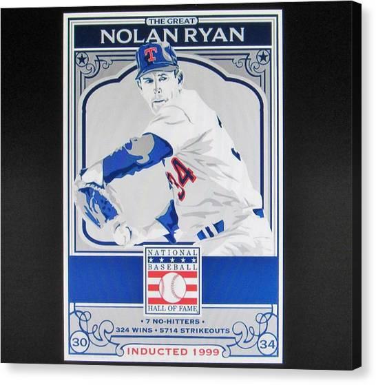 Nolan Ryan Canvas Print - Nolan Ryan Texas Rangers by Donna Wilson
