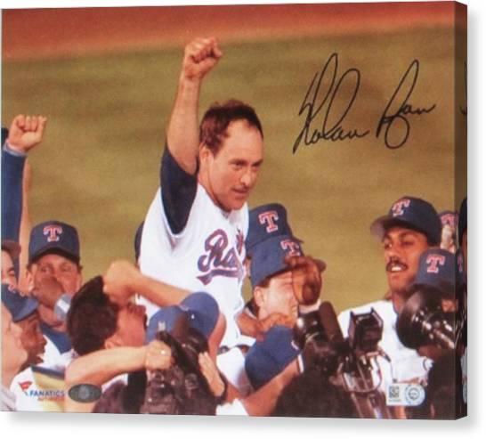Nolan Ryan Canvas Print - Nolan Ryan Texas Rangers Famed No Hitter by Donna Wilson