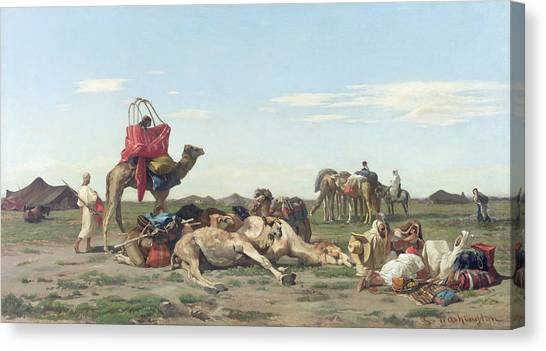 Polo Canvas Print - Nomads In The Desert by Georges Washington