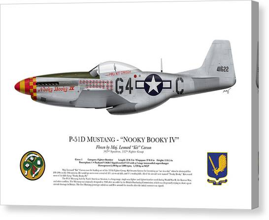 Profile Canvas Print - Nooky Booky I V - P-51 D Mustang by Ed Jackson