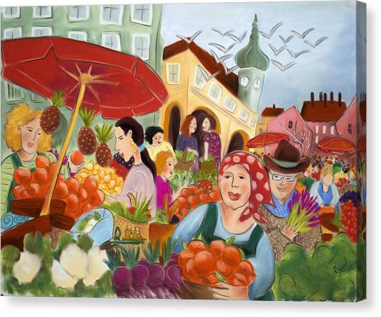Noon At The Market Canvas Print by Tatjana Krizmanic