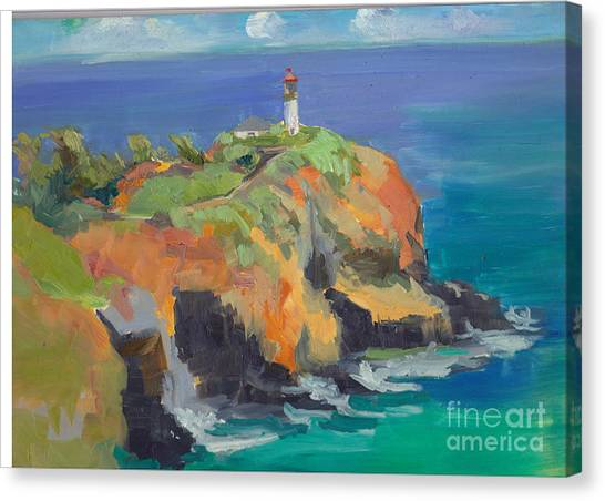 Noon Lighthouse Canvas Print by Cynthia Riedel