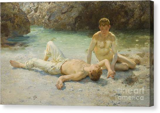 Laying Canvas Print - Noonday Heat by Henry Scott Tuke